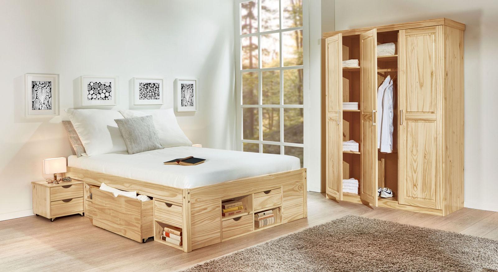 Schubkasten-Bett Oslo mit passendem Kleiderschrank