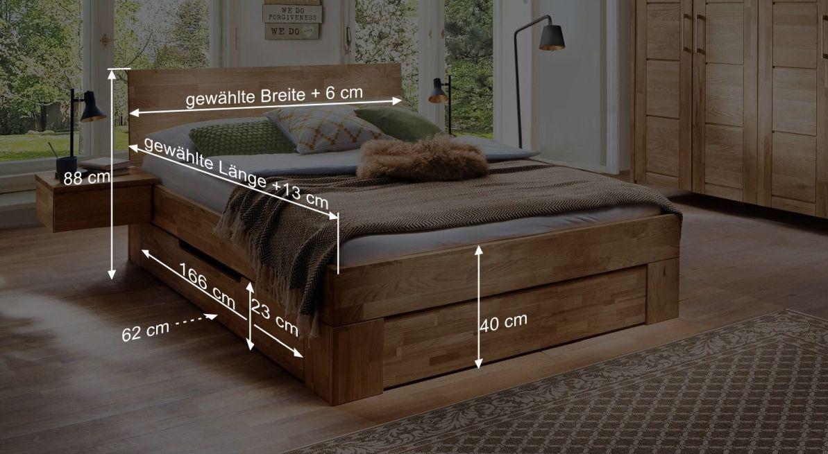 Bemaßungsgrafik zum Schubkasten Bett Pasja