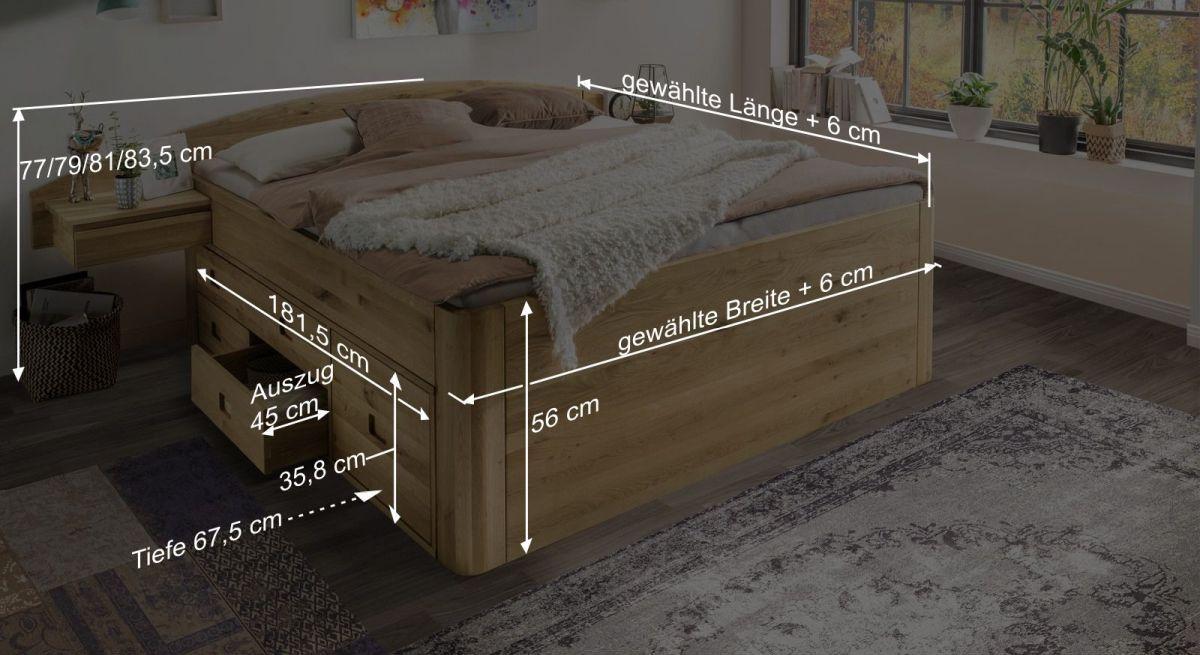 Bemaßungsgrafik zum Schubkasten-Bett Pram