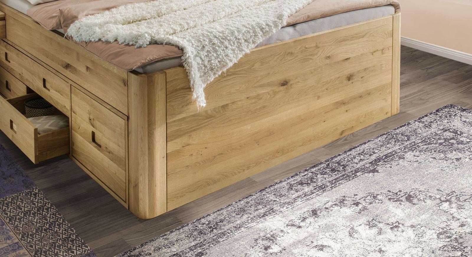 Schubkasten-Bett Pram aus Wildeiche mit natürlicher Maserung