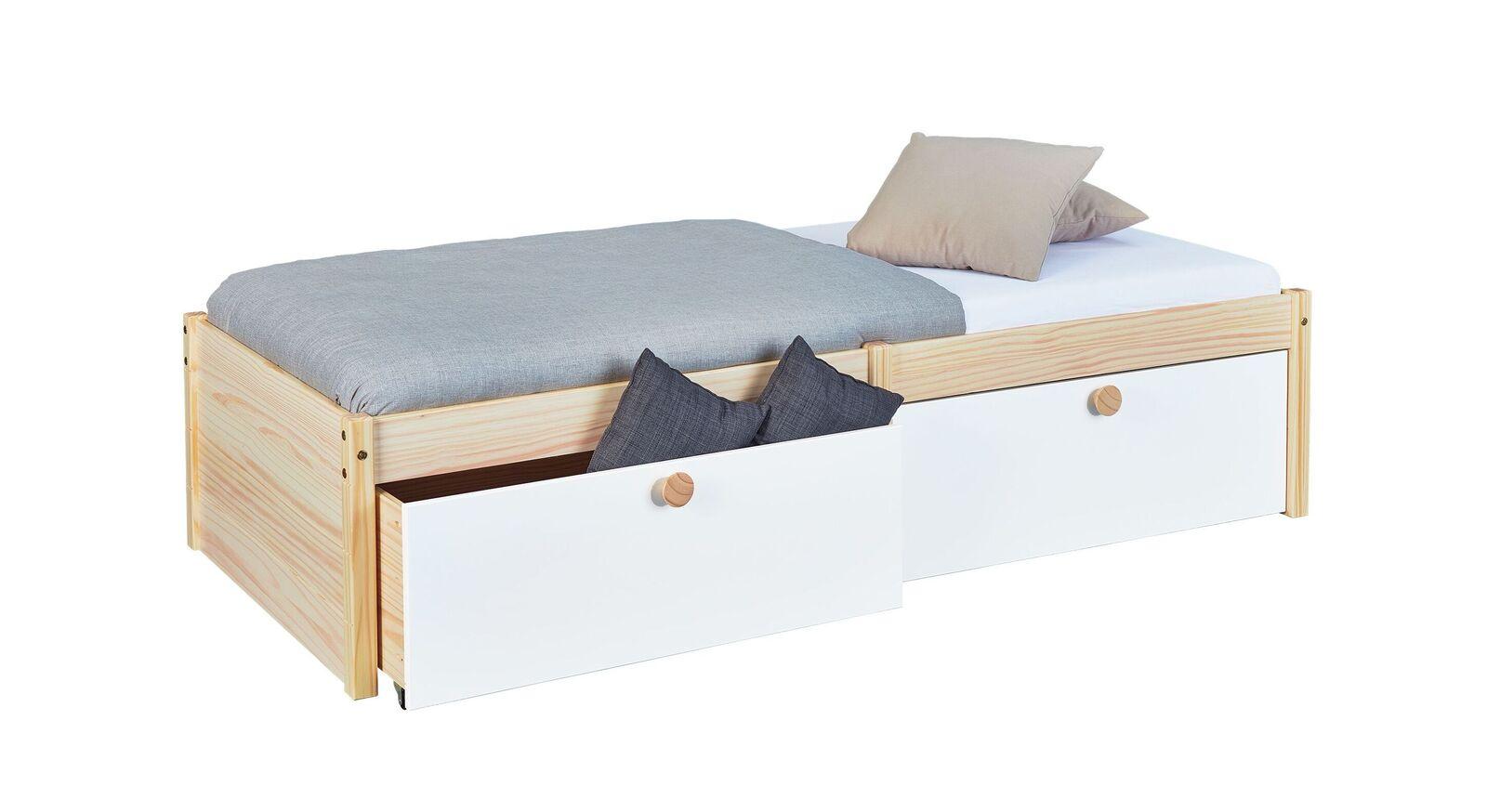 Stabiles und robustes Schubkasten-Bett Saffar