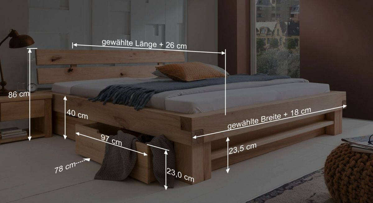 Bemaßungsgrafik vom Schubkasten-Bett Sowa