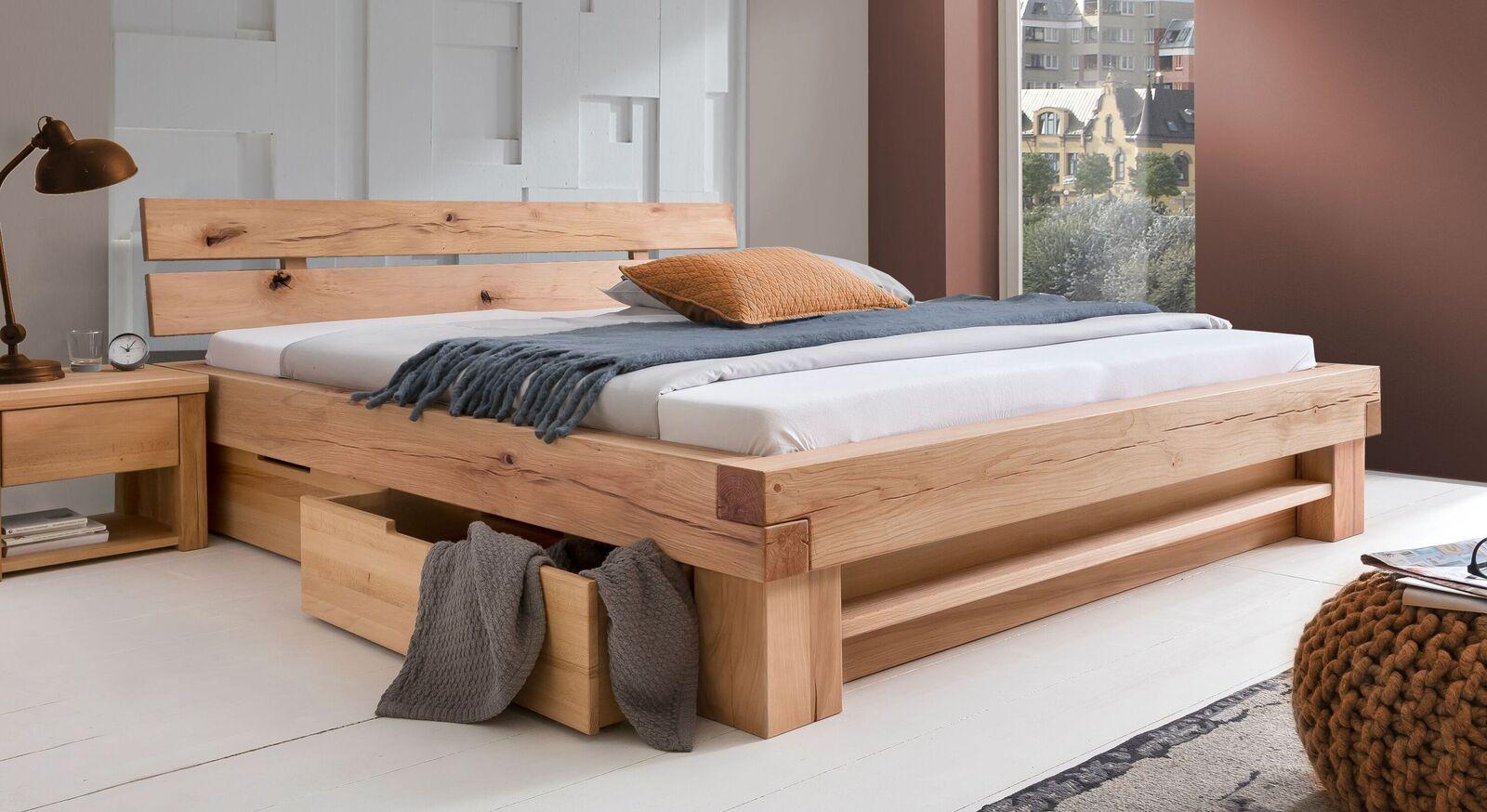 Schubkasten-Bett Sowa aus natur geölter Wildbuche