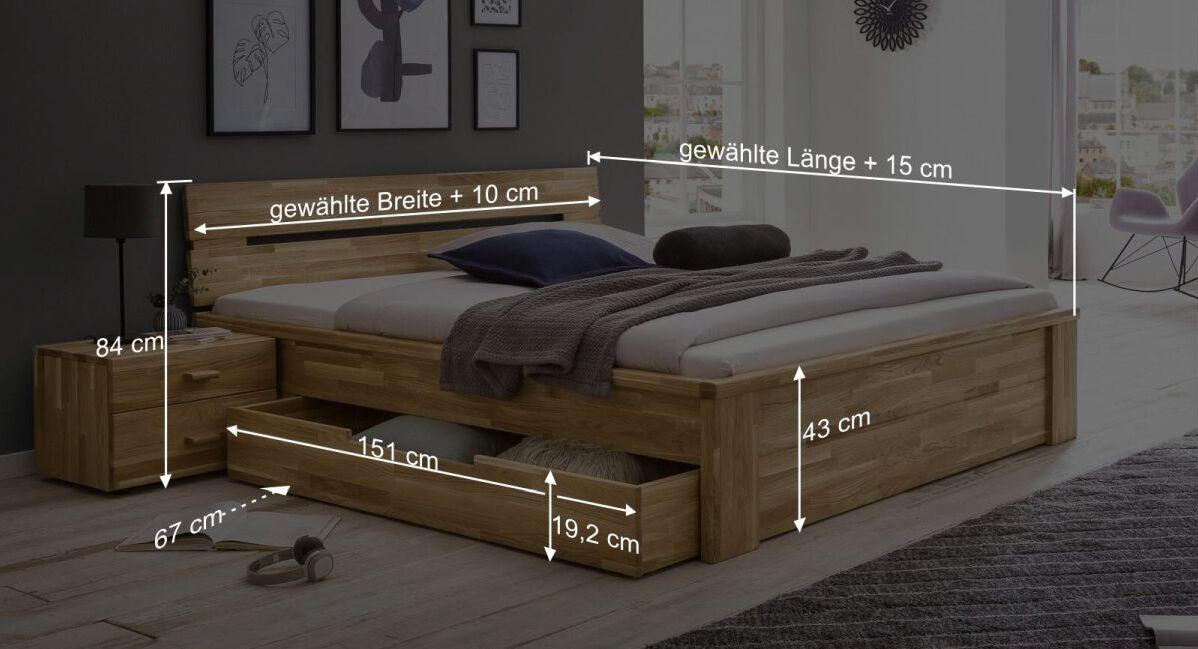 Bemaßungs-Grafik zum Schubkasten-Bett Sumak
