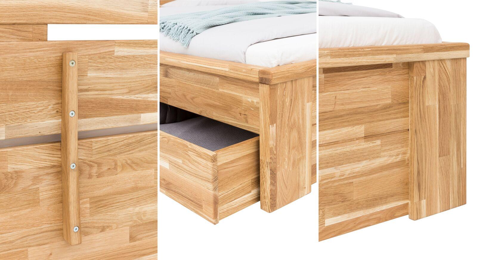 Hochwertig verarbeitetes Schubkasten-Bett Sumak