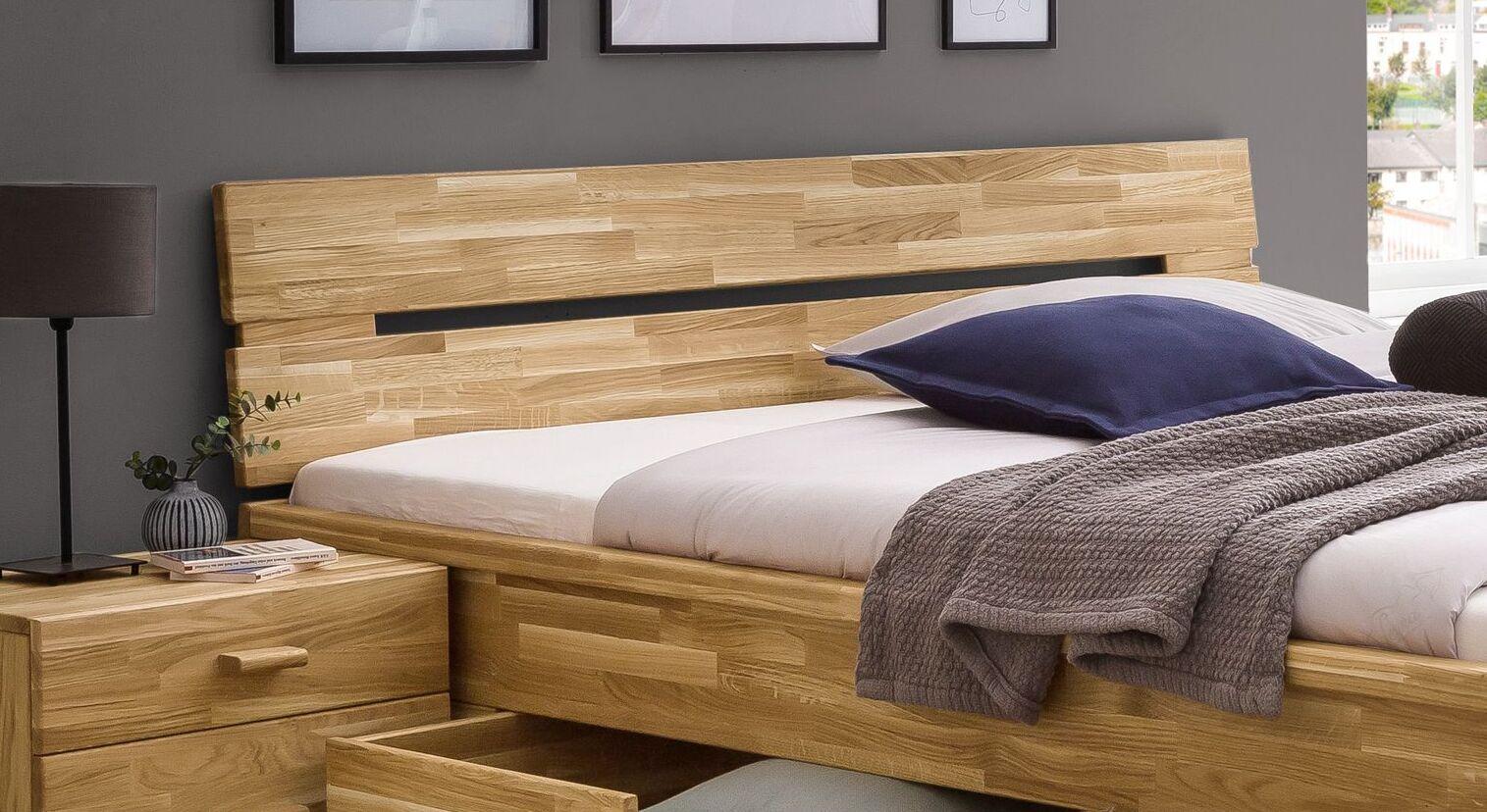 Schubkasten-Bett Sumaks Kopfteil mit Ausfräsungen