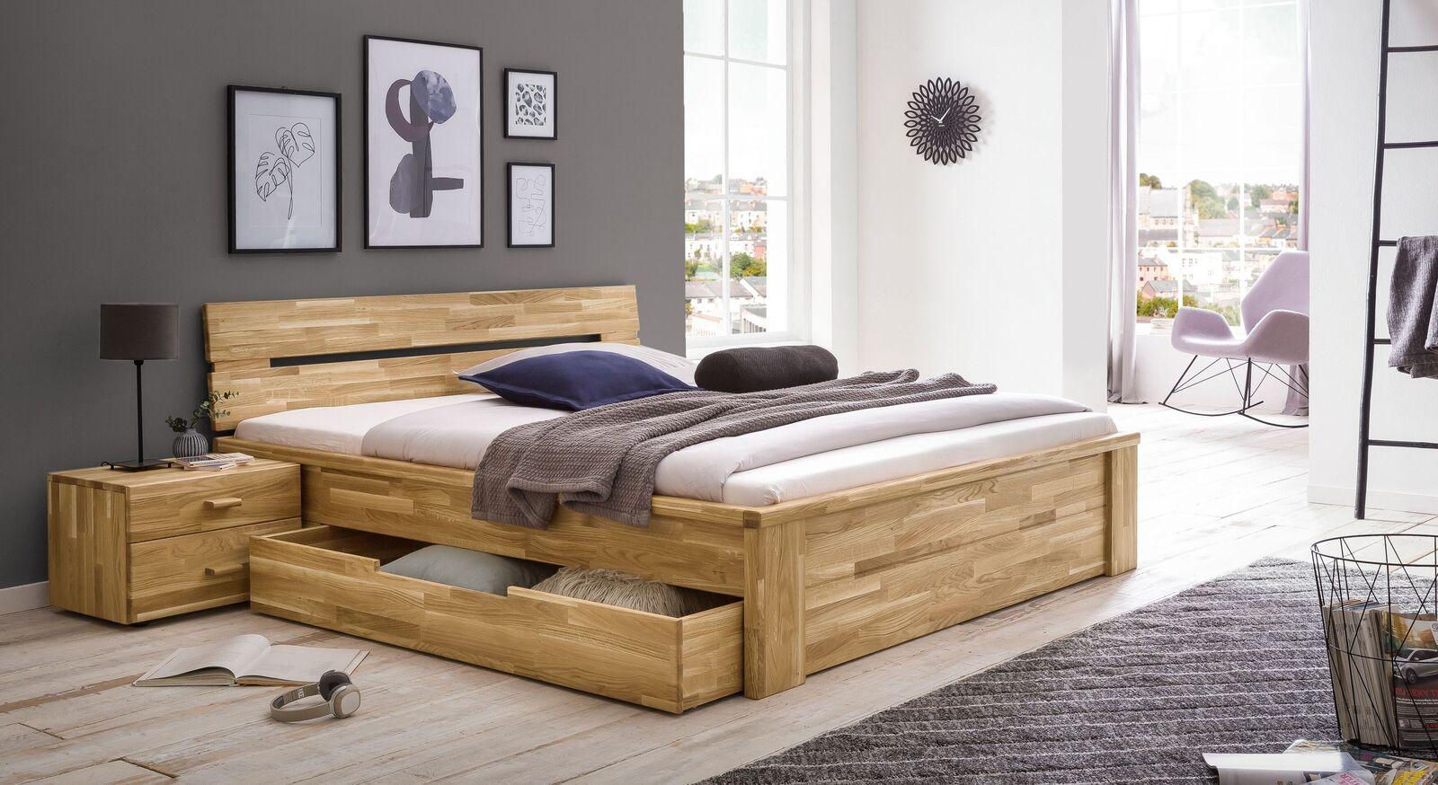 Schubkasten-Bett Sumak mit passendem Nachttisch