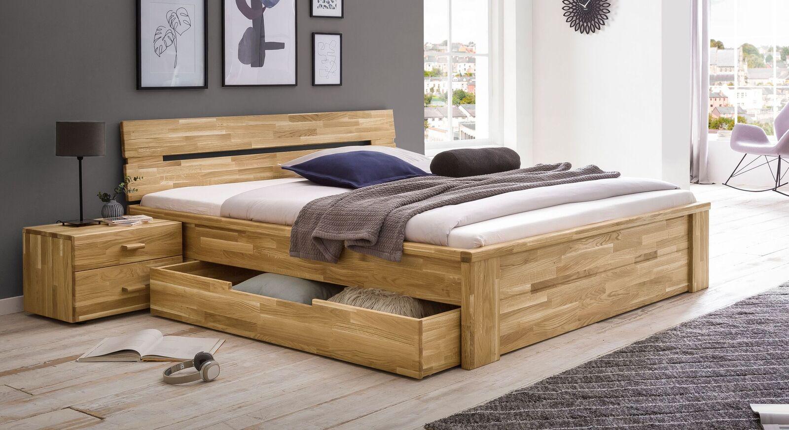 Schubkasten-Bett Sumak aus natur geölter Wildeiche