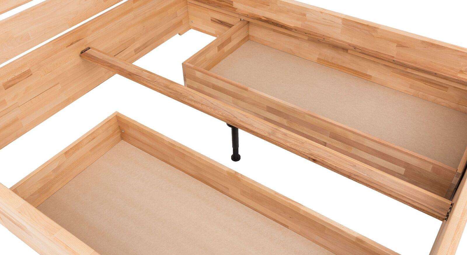 Schubkasten-Bett Tamira mit stabilisierendem Mittelholm
