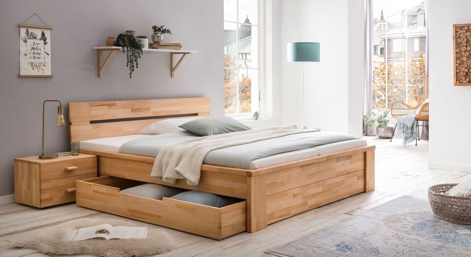 Schubkasten-Bett Tamira mit passendem Nachttisch
