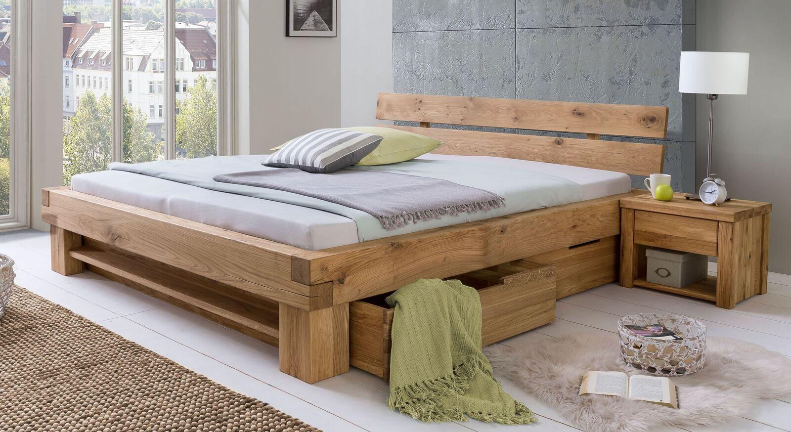 Schubkasten-Bett Tomba aus natur geölter Wildeiche