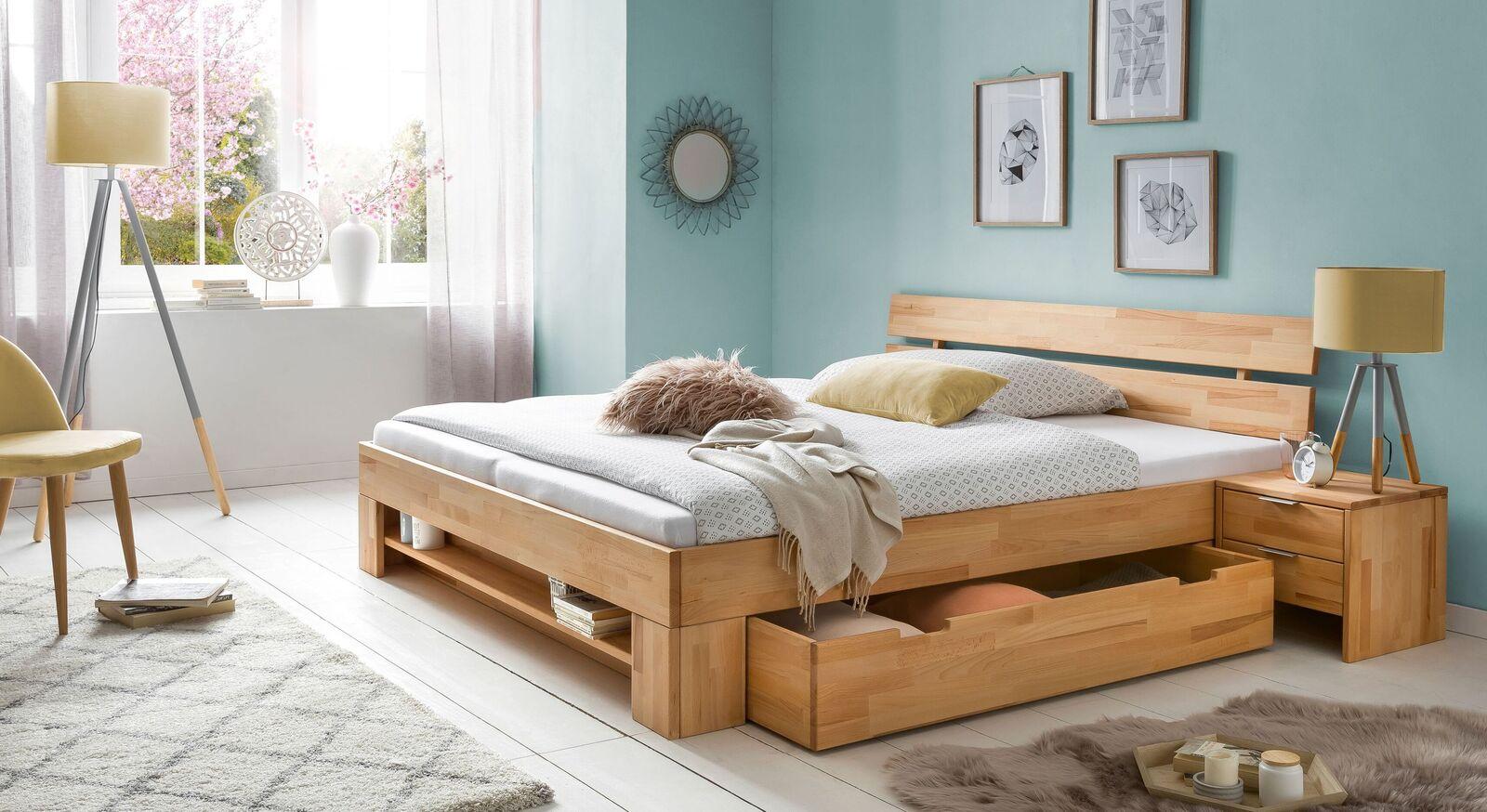 Schubkasten-Bett Valisia mit passendem Nachttisch