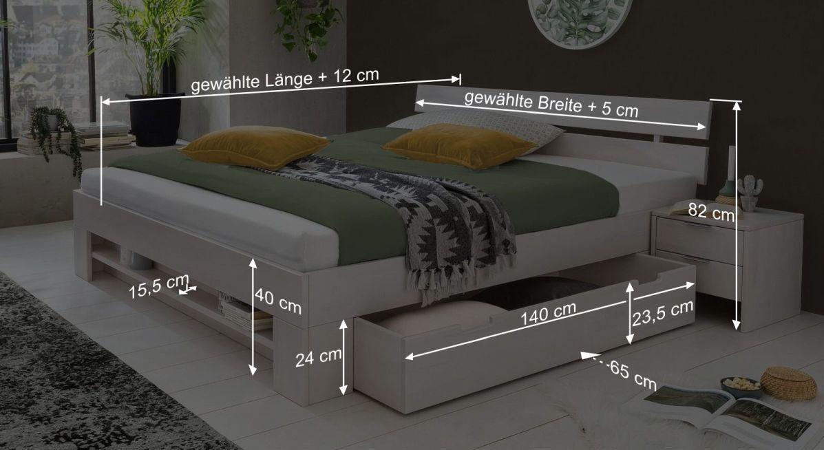 Bemaßungs-Grafik zum Schubkasten-Bett Valor