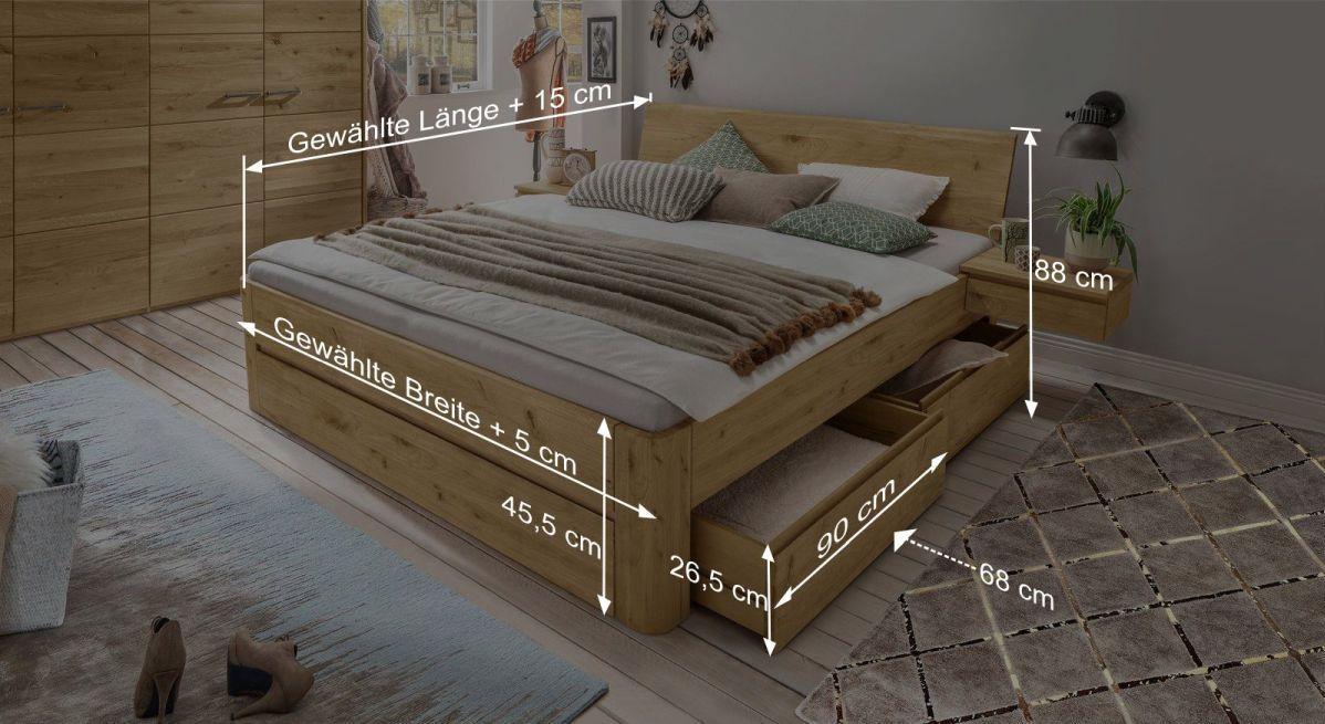 Bemaßungsgrafik zum Schubkasten-Bett Wila metallfrei