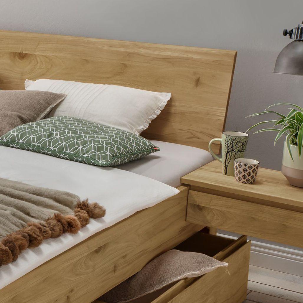 naturholzbett aus wildeiche mit schubk sten wila metallfrei. Black Bedroom Furniture Sets. Home Design Ideas