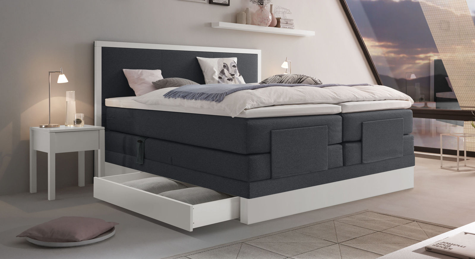 elektrisch verstellbares boxspringbett mit schubkasten pando. Black Bedroom Furniture Sets. Home Design Ideas