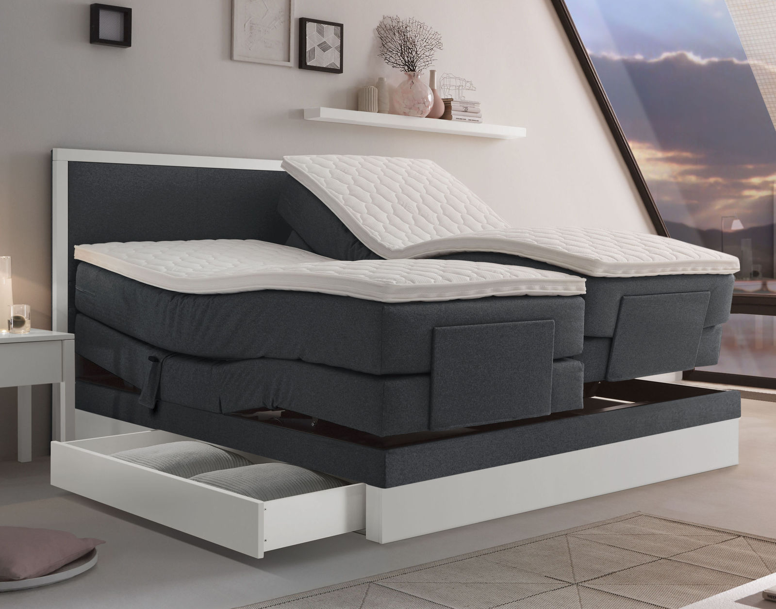 boxspringbett mit schubladen boxspringbett mit schubladen design bett von rechteck. Black Bedroom Furniture Sets. Home Design Ideas