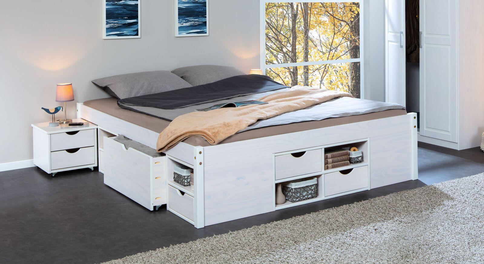 Weiß lackiertes Schubkasten-Doppelbett Göteborg aus Kiefer
