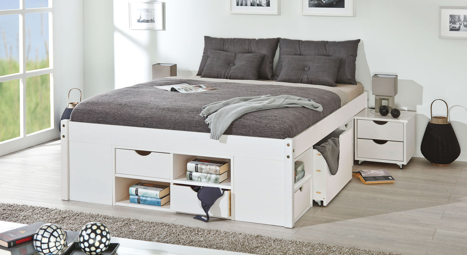 schubkasten doppelbett g teborg aus kiefer in weiss. Black Bedroom Furniture Sets. Home Design Ideas