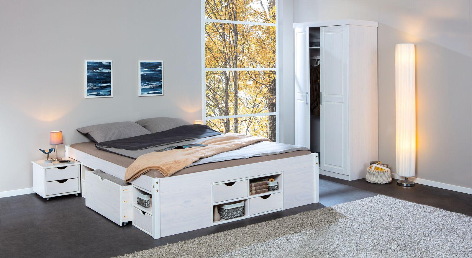 Schubkasten-Doppelbett Göteborg mit passendem Schrank