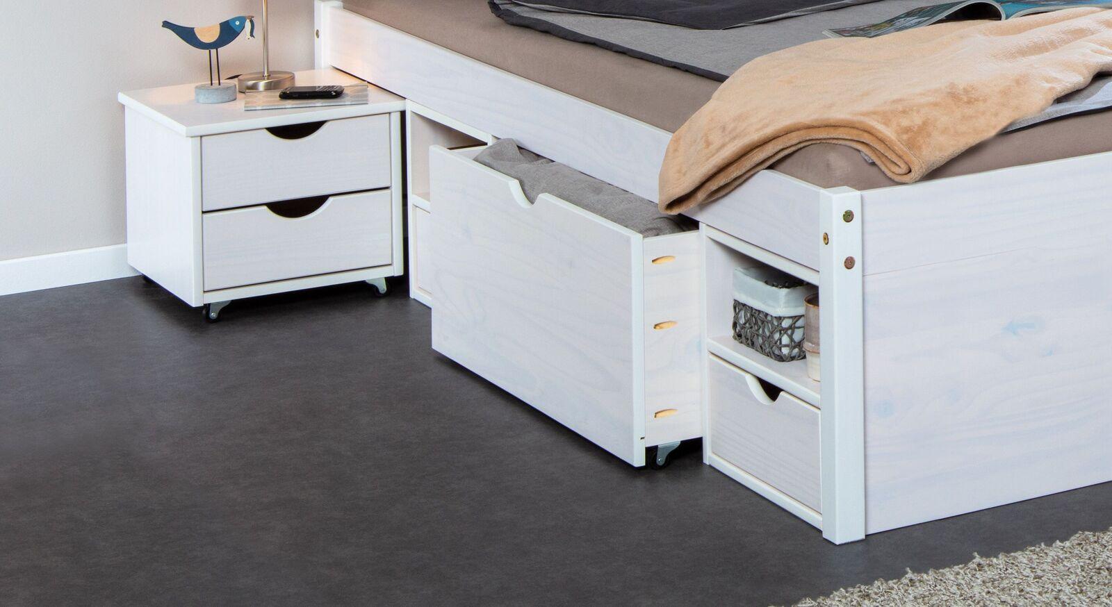 Schubkasten-Doppelbett Göteborg mit zahlreichen Stauraum-Möglichkeiten