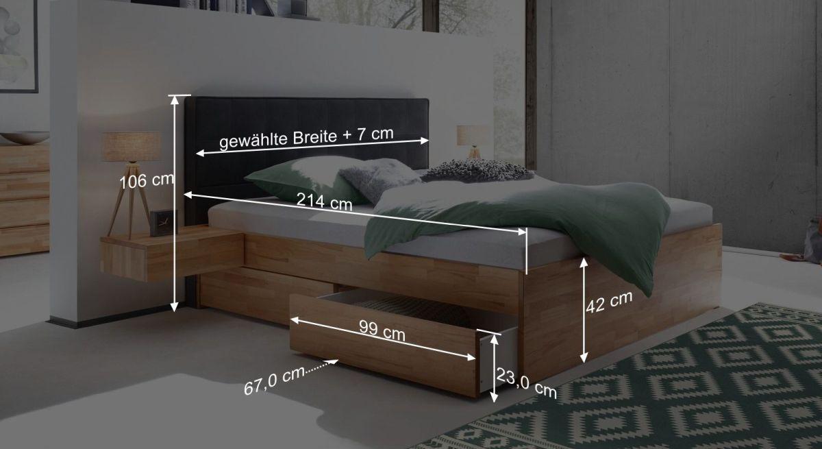 Bemaßungsgrafik vom Schubkasten-Doppelbett Mirenda