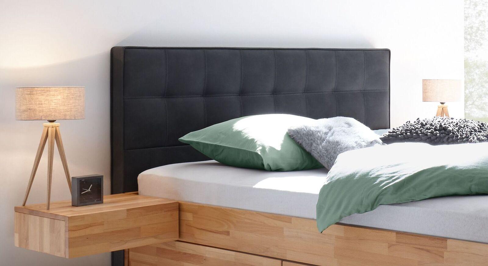 Schubkasten-Doppelbett Mirenda mit dunklem Kopfteil