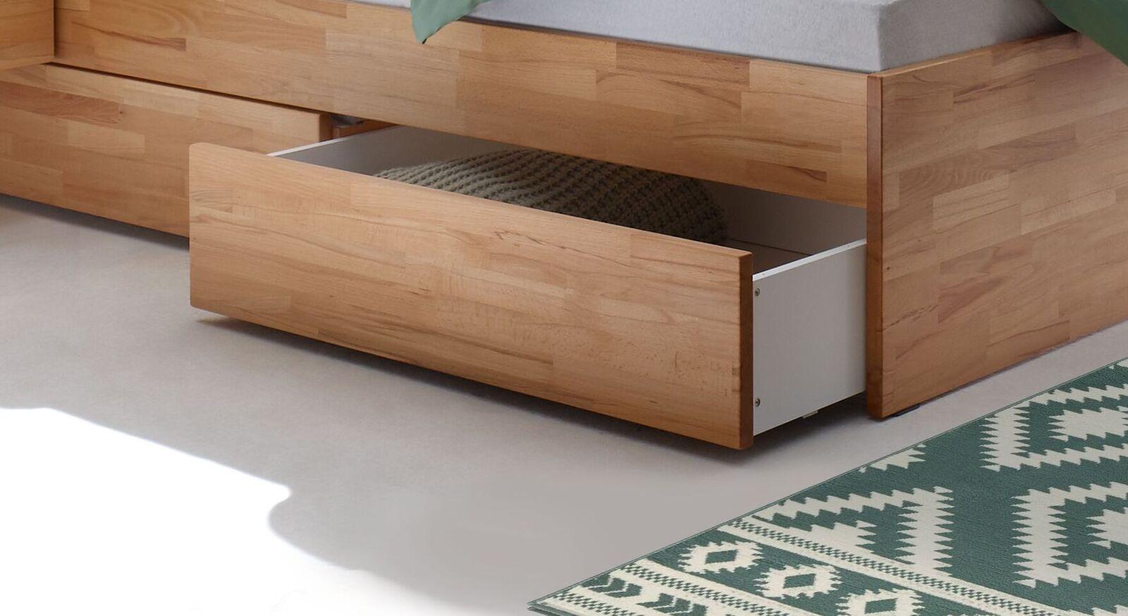 Schubkasten-Doppelbett Mirenda aus massivem Naturholz