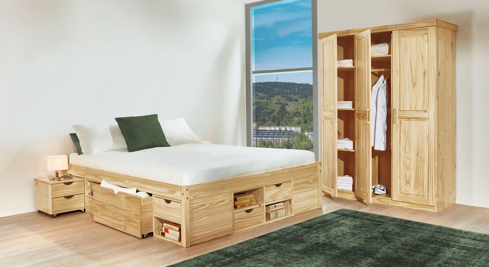Schubkasten-Doppelbett Oslo mit passendem Kleiderschrank
