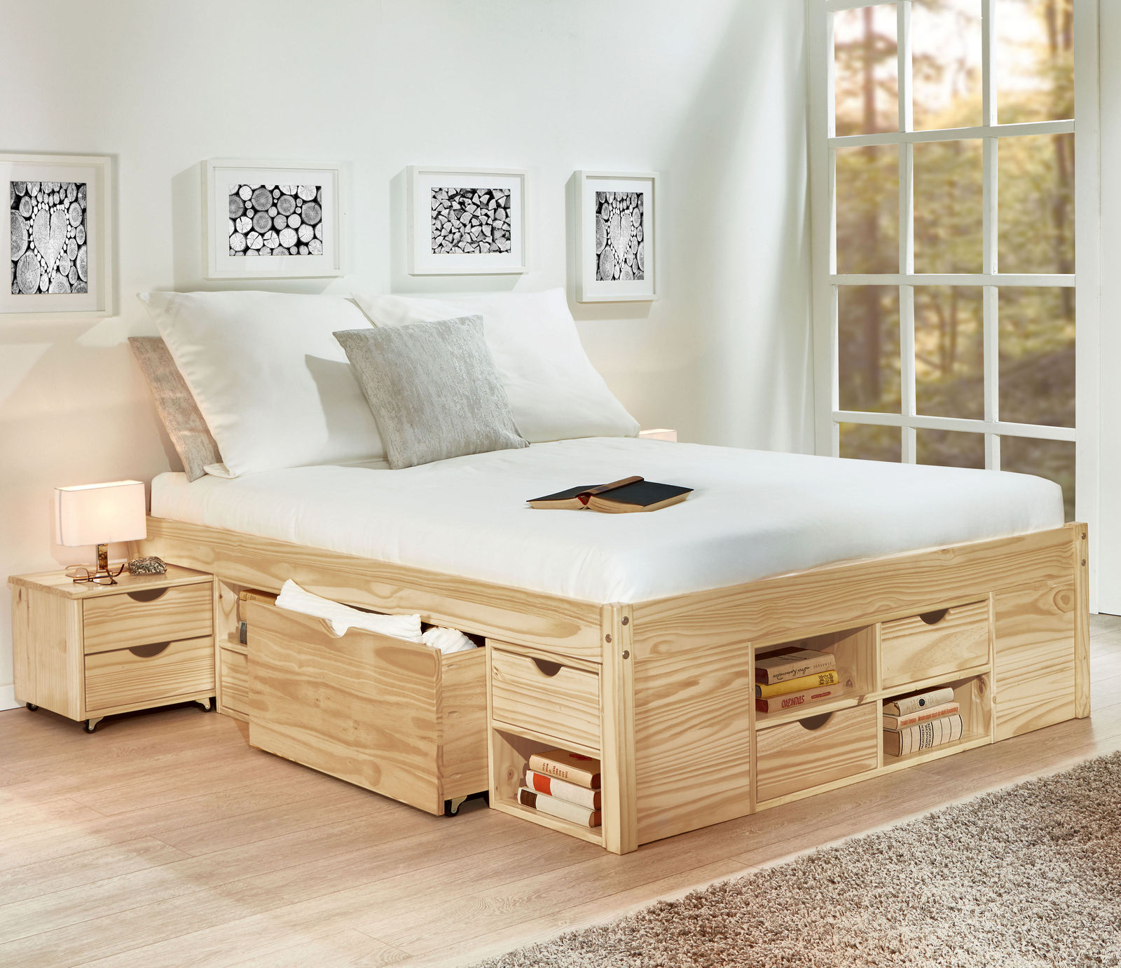 schubkasten doppelbett mit viel stauraum bett oslo. Black Bedroom Furniture Sets. Home Design Ideas