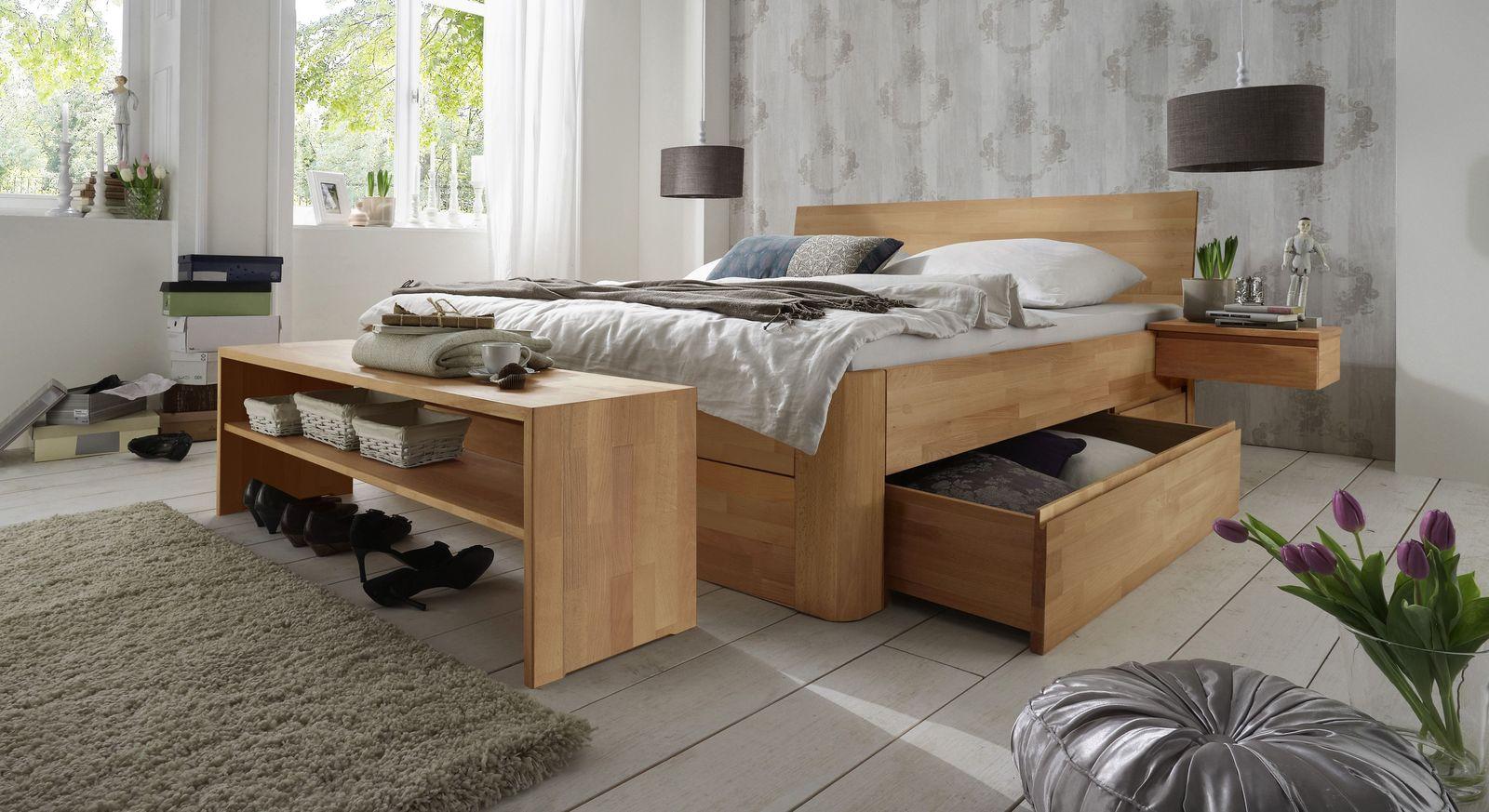Schubkasten-Doppelbett Zarbo in Buche natur