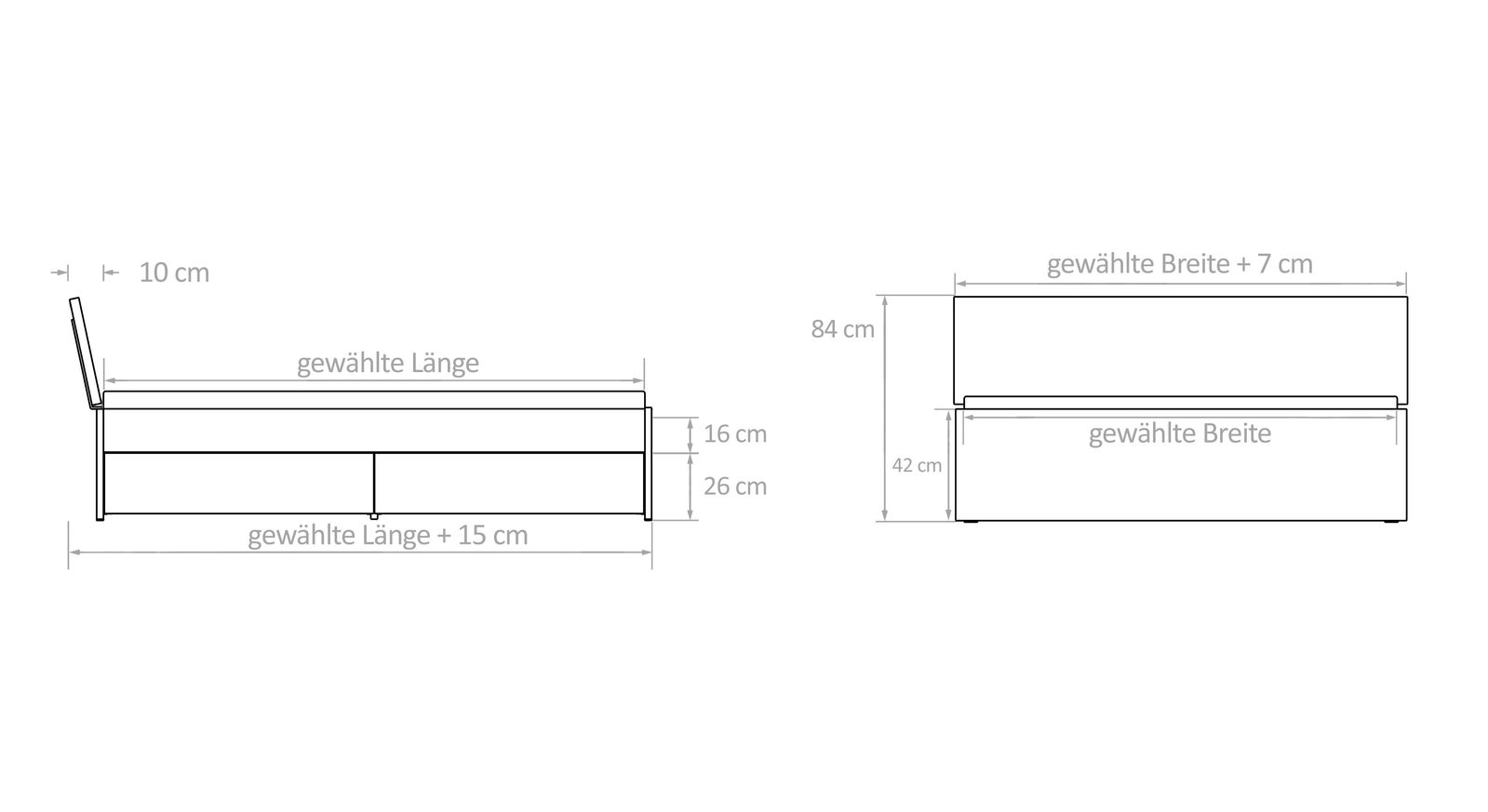 Bemaßungsskizzen für Schubkasten-Doppelbetten
