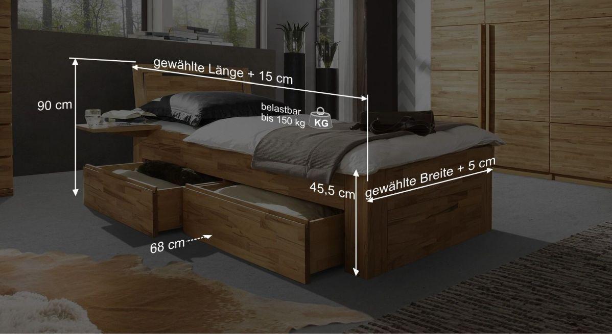 Bemaßungsgrafik vom Schubasten-Einzelbett Andalucia