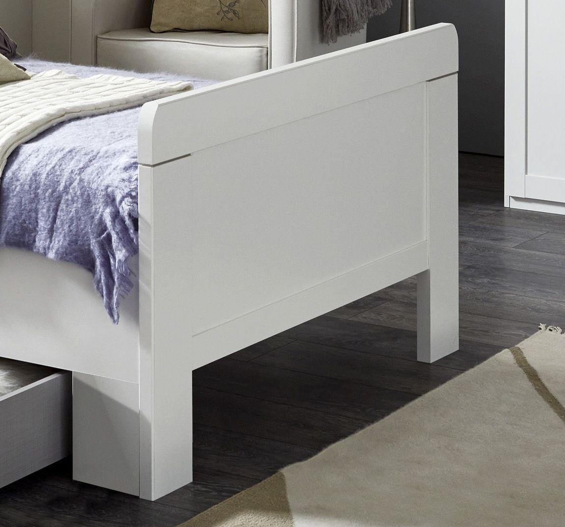 preiswertes wei es schubkastenbett f r eine person aradeo. Black Bedroom Furniture Sets. Home Design Ideas
