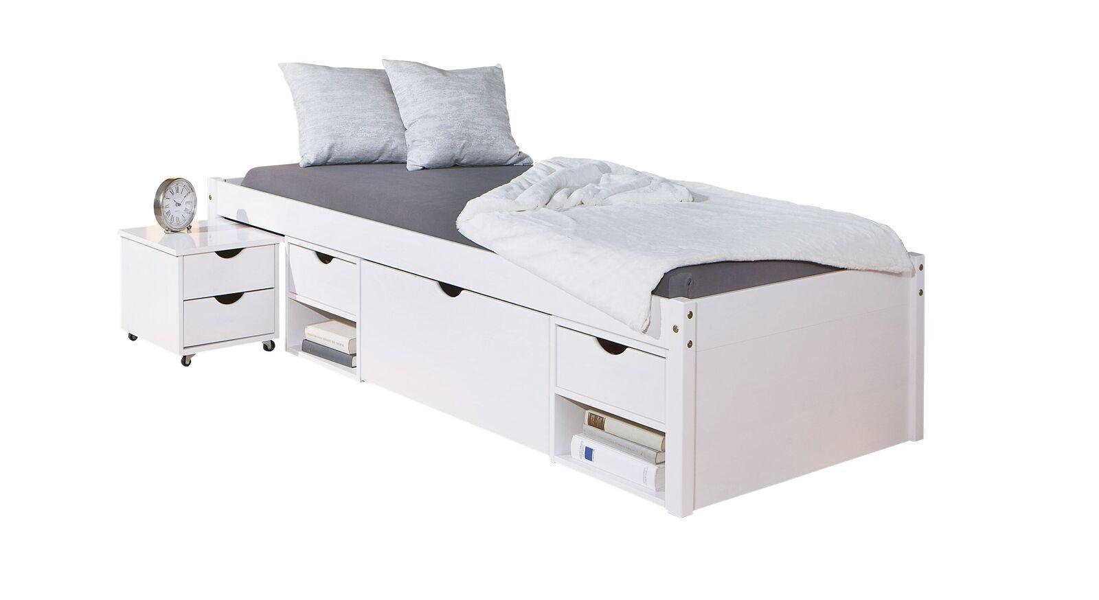 Schubkasten-Einzelbett Göteborg inklusive Nachttisch