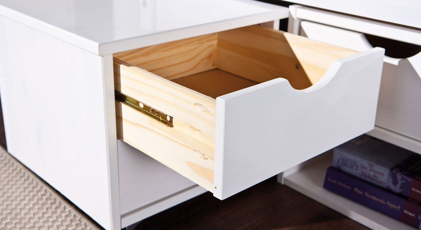 Schubkasten-Einzelbett Göteborg mit Holz-Schublade