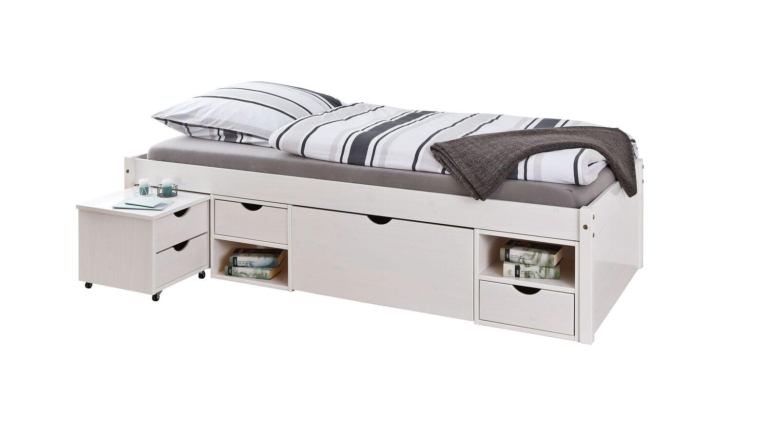 Schubkasten-Einzelbett Göteborg mit Schubladen-Nachttisch