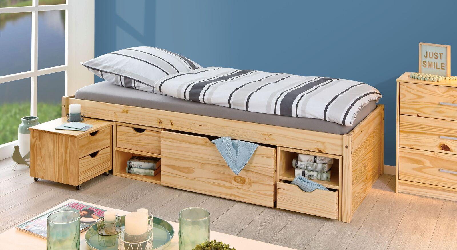 Schubkasten-Einzelbett Oslo aus robustem Kiefernholz