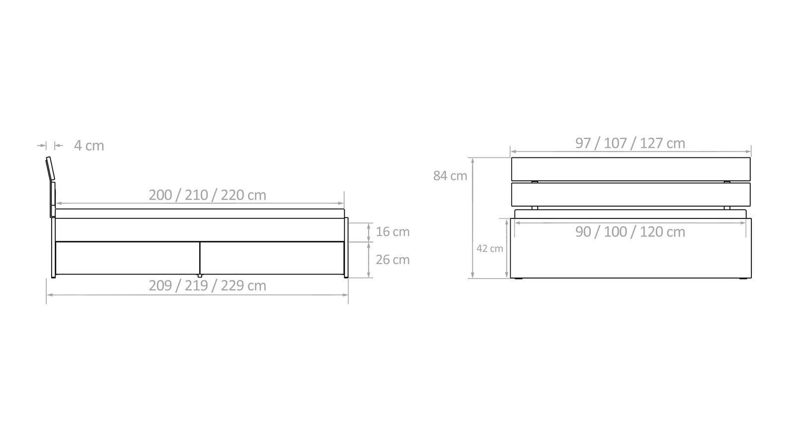 Bemaßungsskizze für Schubkasten-Einzelbetten