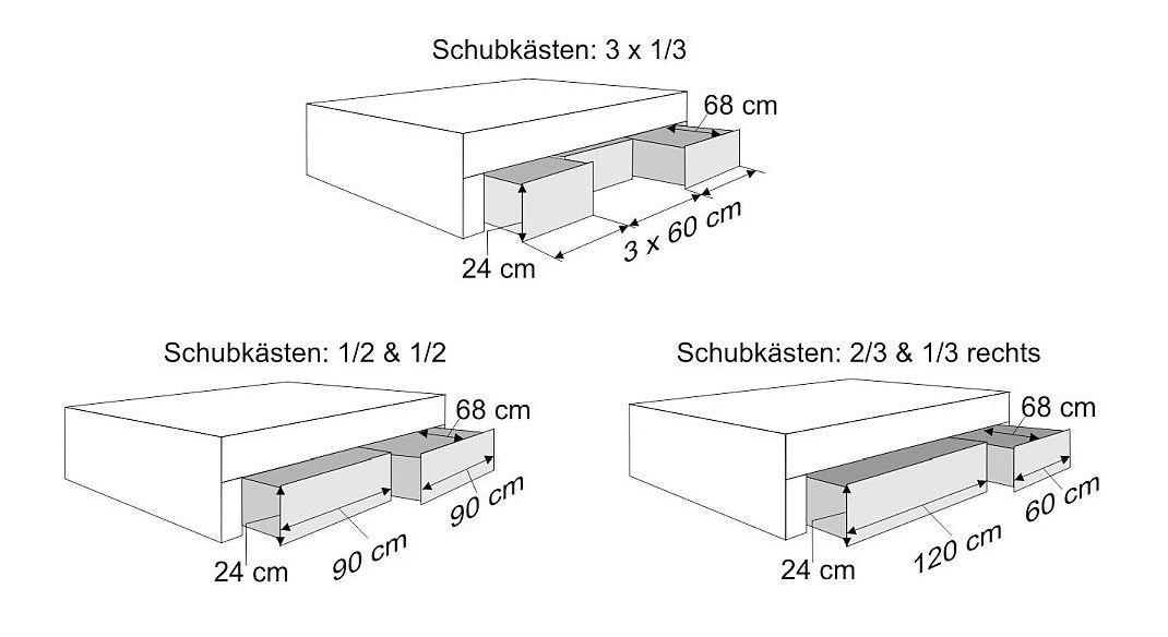 Schubkasten-Liege Zarbo mit Bemaßungs-Skizze der Schubladen