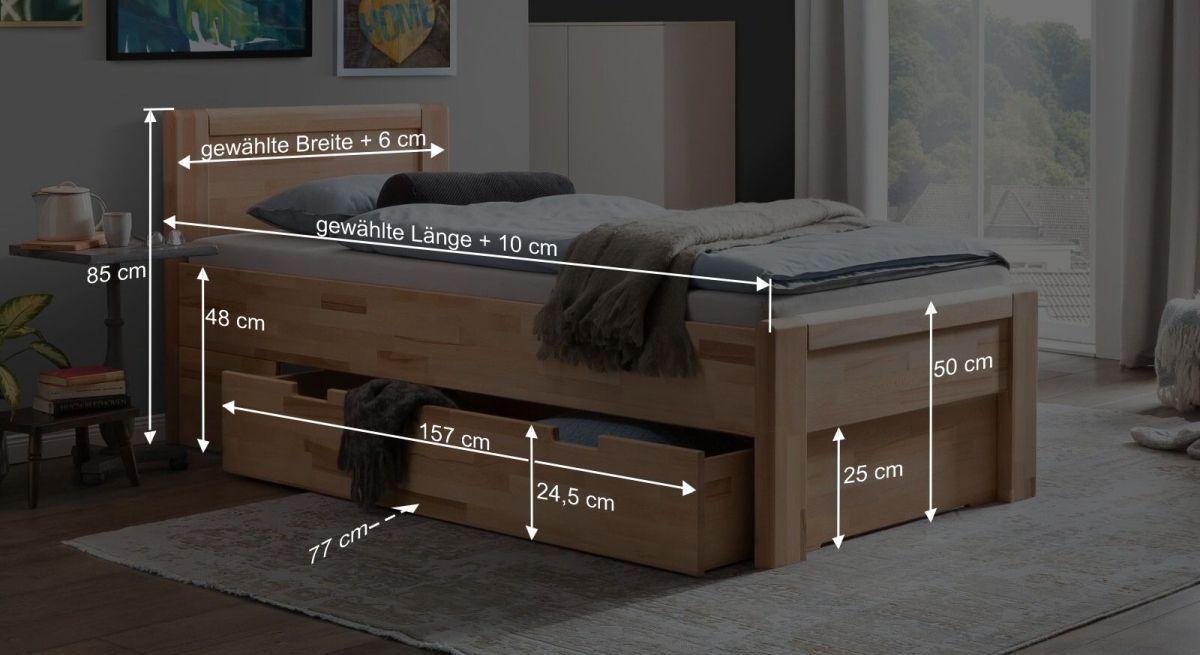 Bemaßungsgrafik zum Schubkasten Seniorenbett Ewen