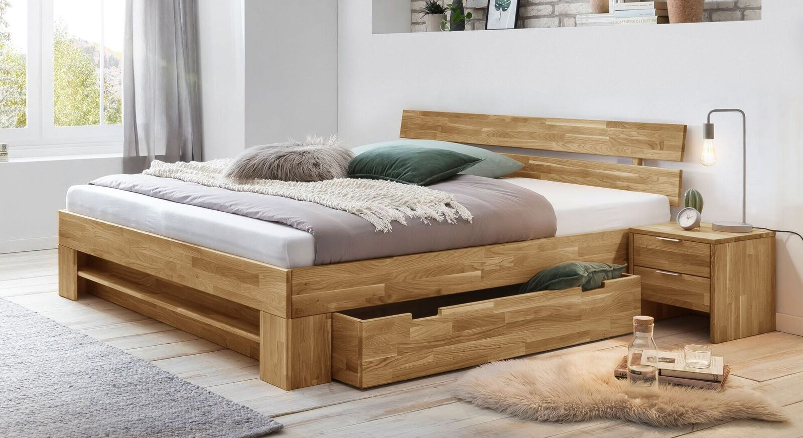 Schubkastenbett Kanata inklusive Regal