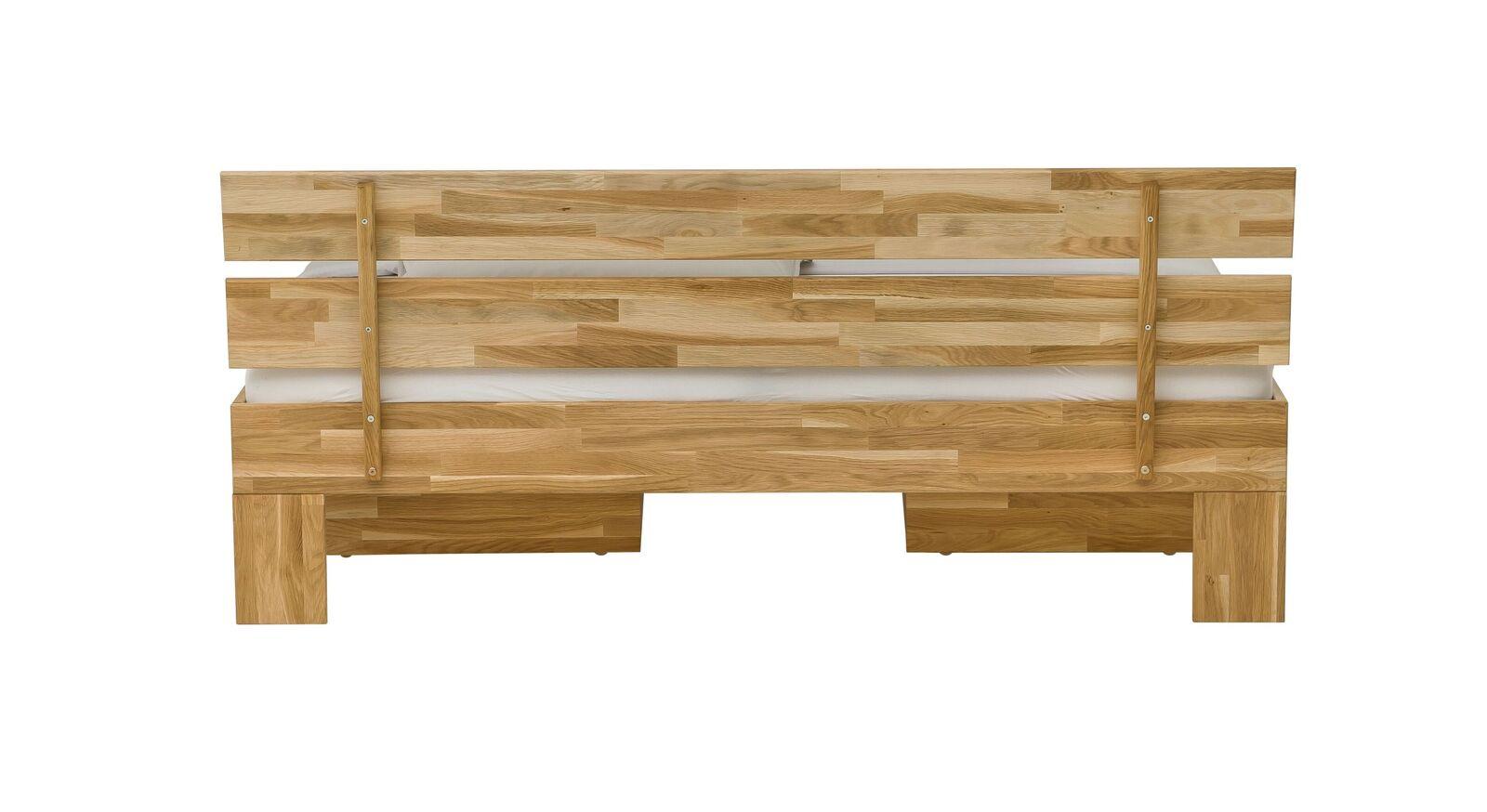 Schubkastenbett Kanata mit zweigeteiltem Holz-Kopfteil
