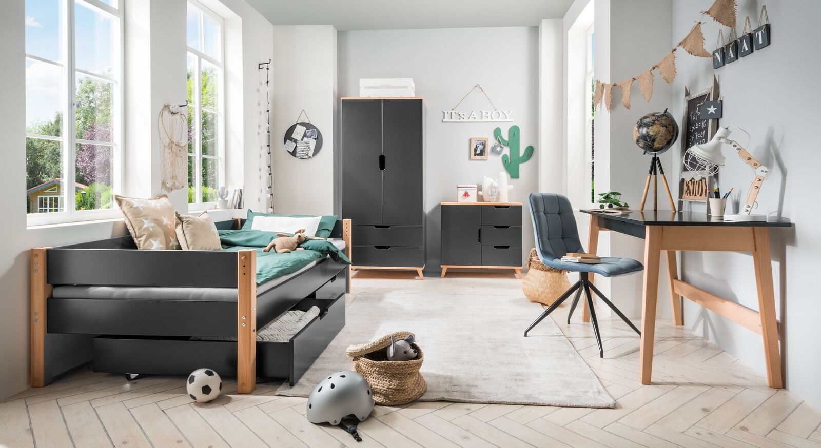 Modernes Schubkastenbett Kids Nordic mit passenden Beimöbeln