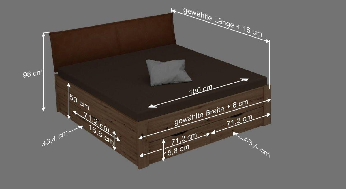Bemaßungsgrafik zum Bett Moruda