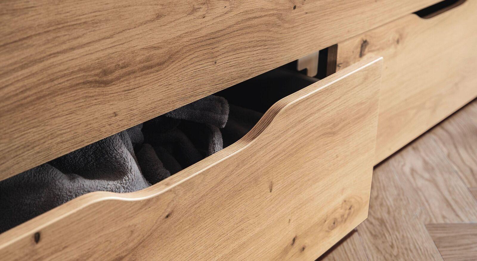 Schubkastenbett Moruda mit integriertem Stauraum