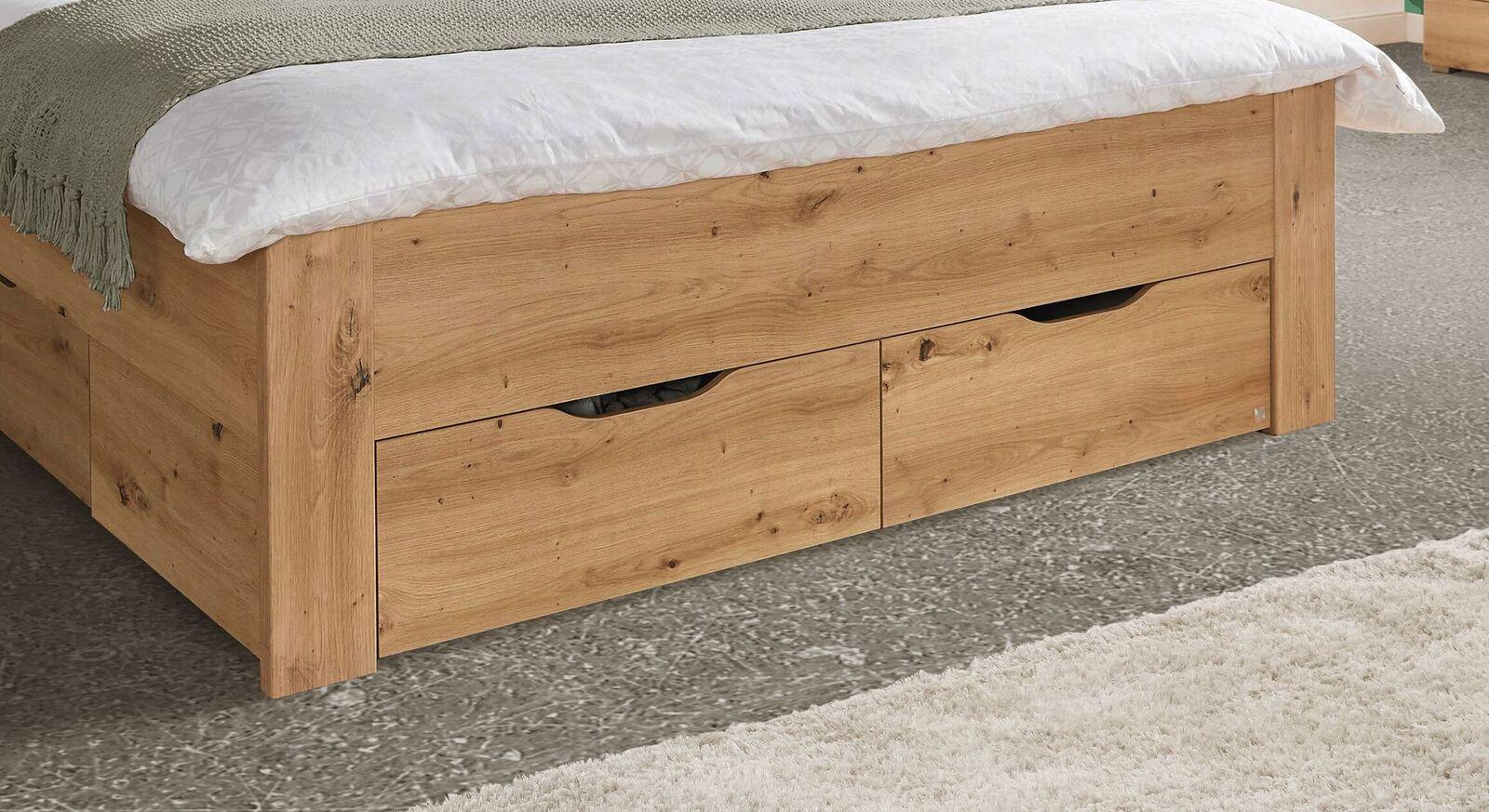 Schubkastenbett Moruda mit unauffälligen Schubladen