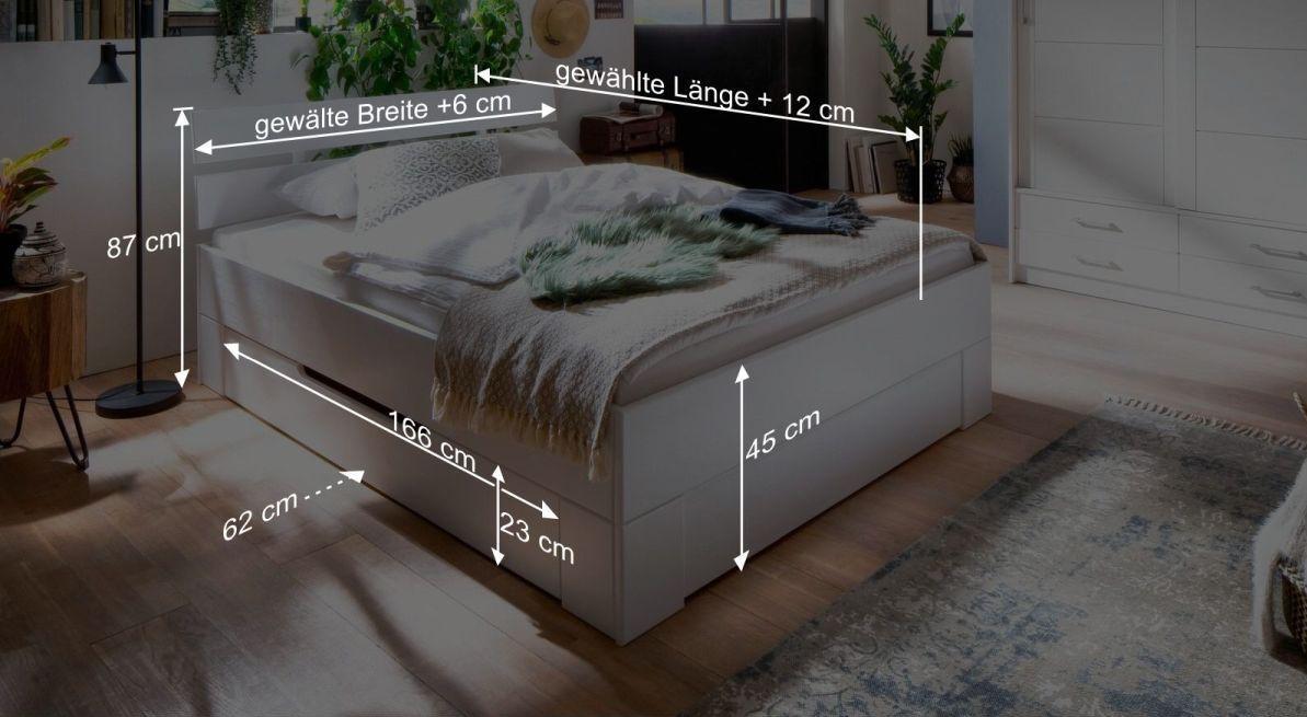 Bemaßungsgrafik zum Schubkasten Bett Ottena
