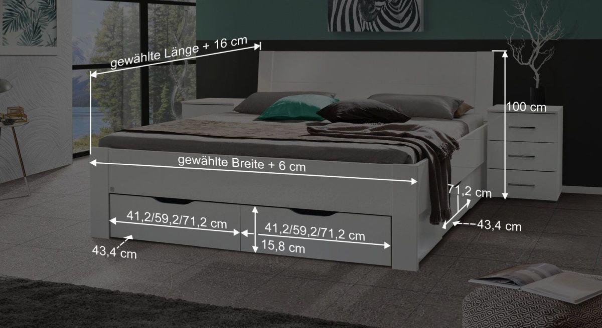 Bemaßungsgrafik zum Bett Siberio