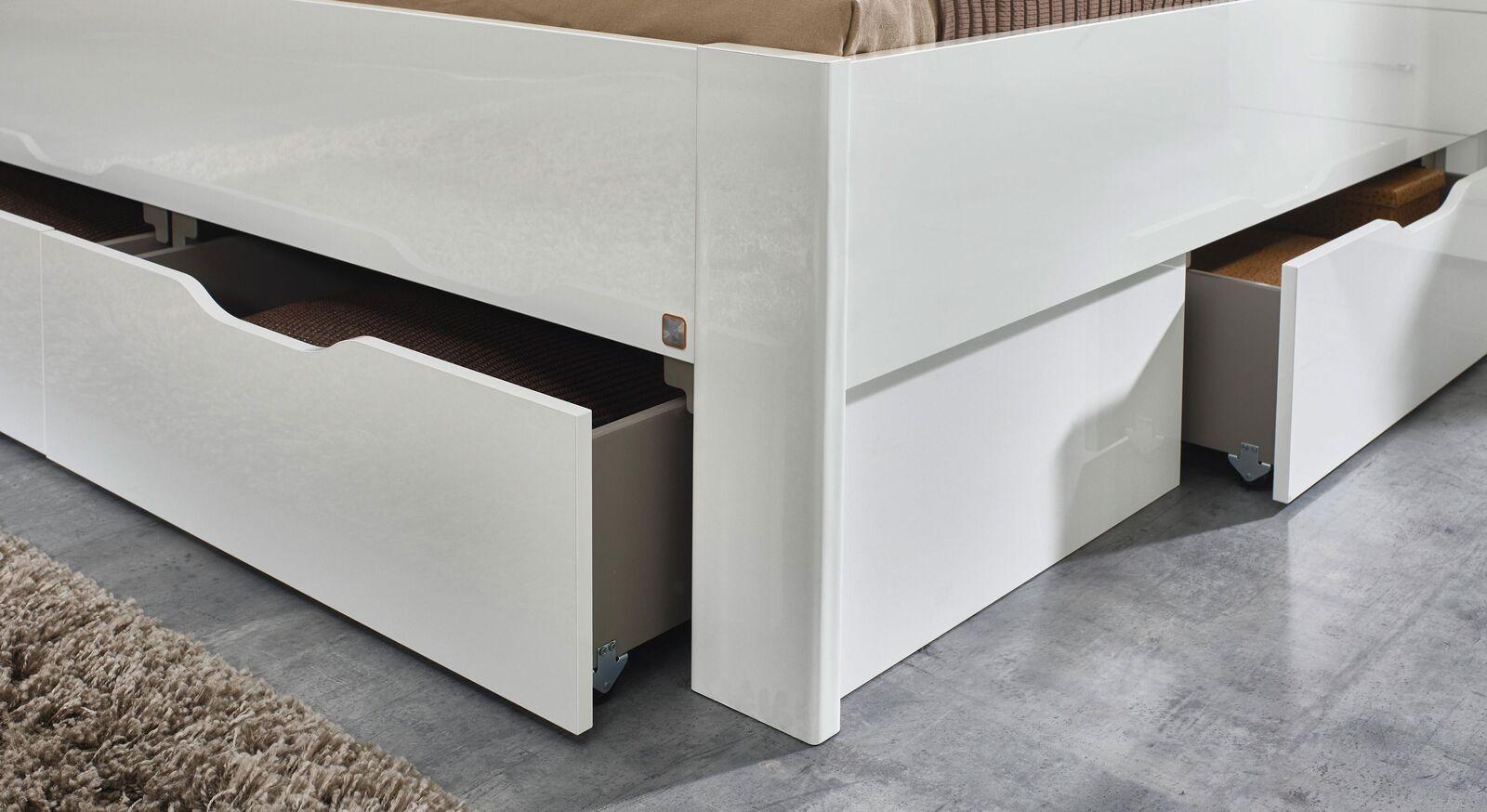 Schubkastenbett Siberio mit großen Schubladen